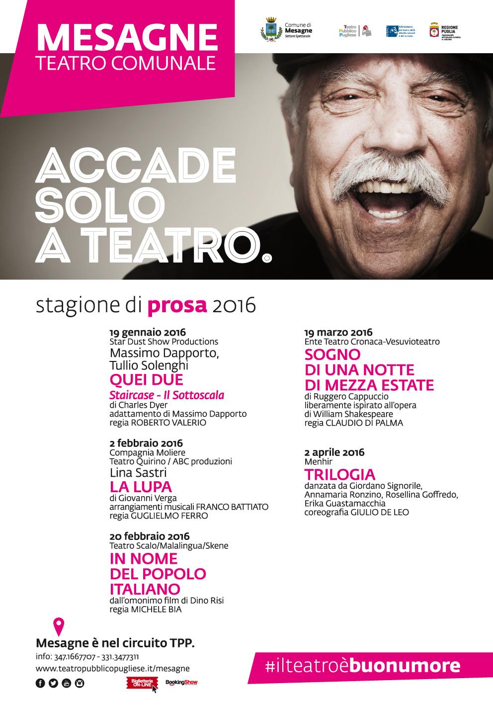 Massimo Dapporto e Tullio Solenghi aprono il cartellone di prosa al Comunale