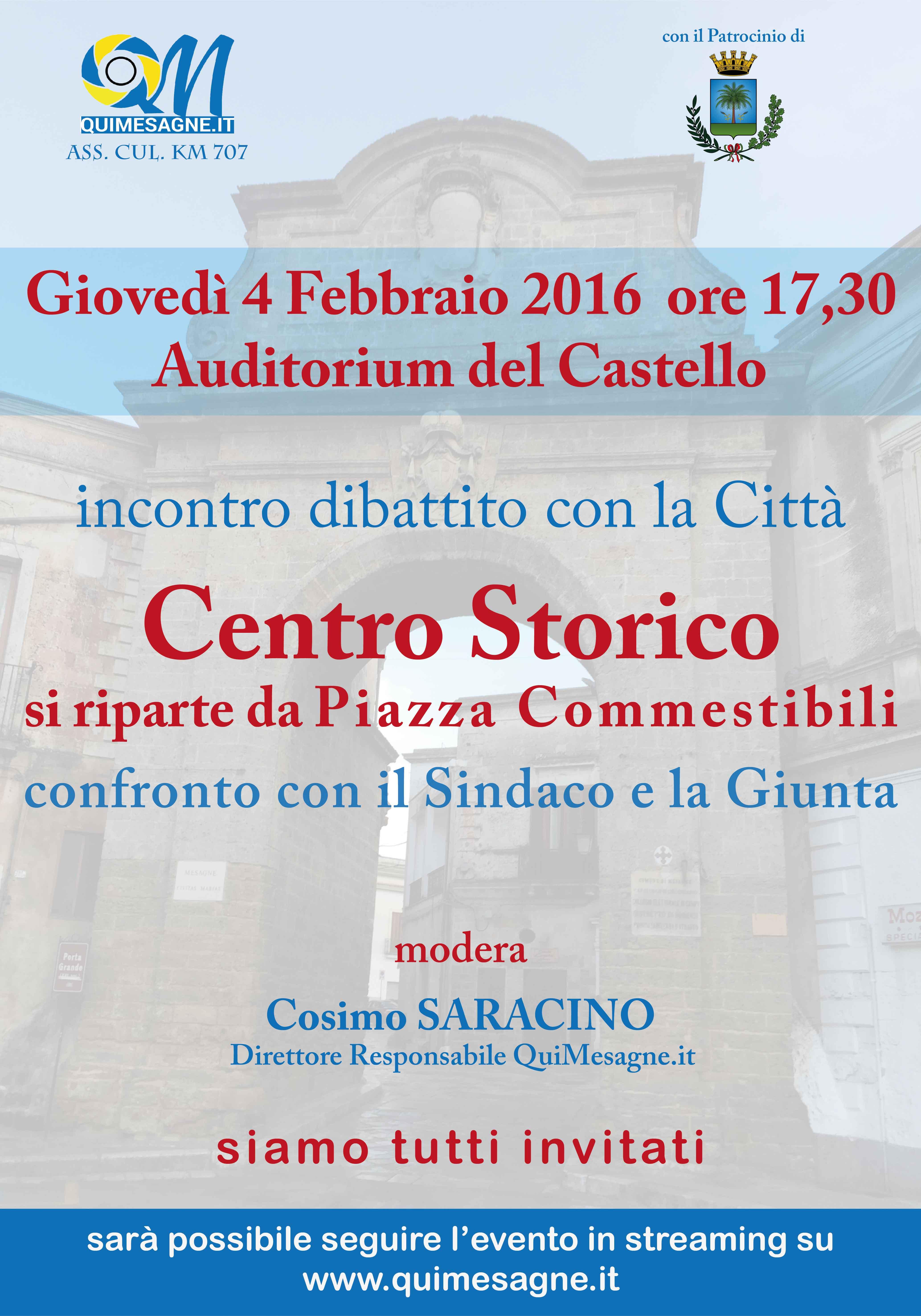 Domani 4 febbraio confronto con il Sindaco sul Centro Storico