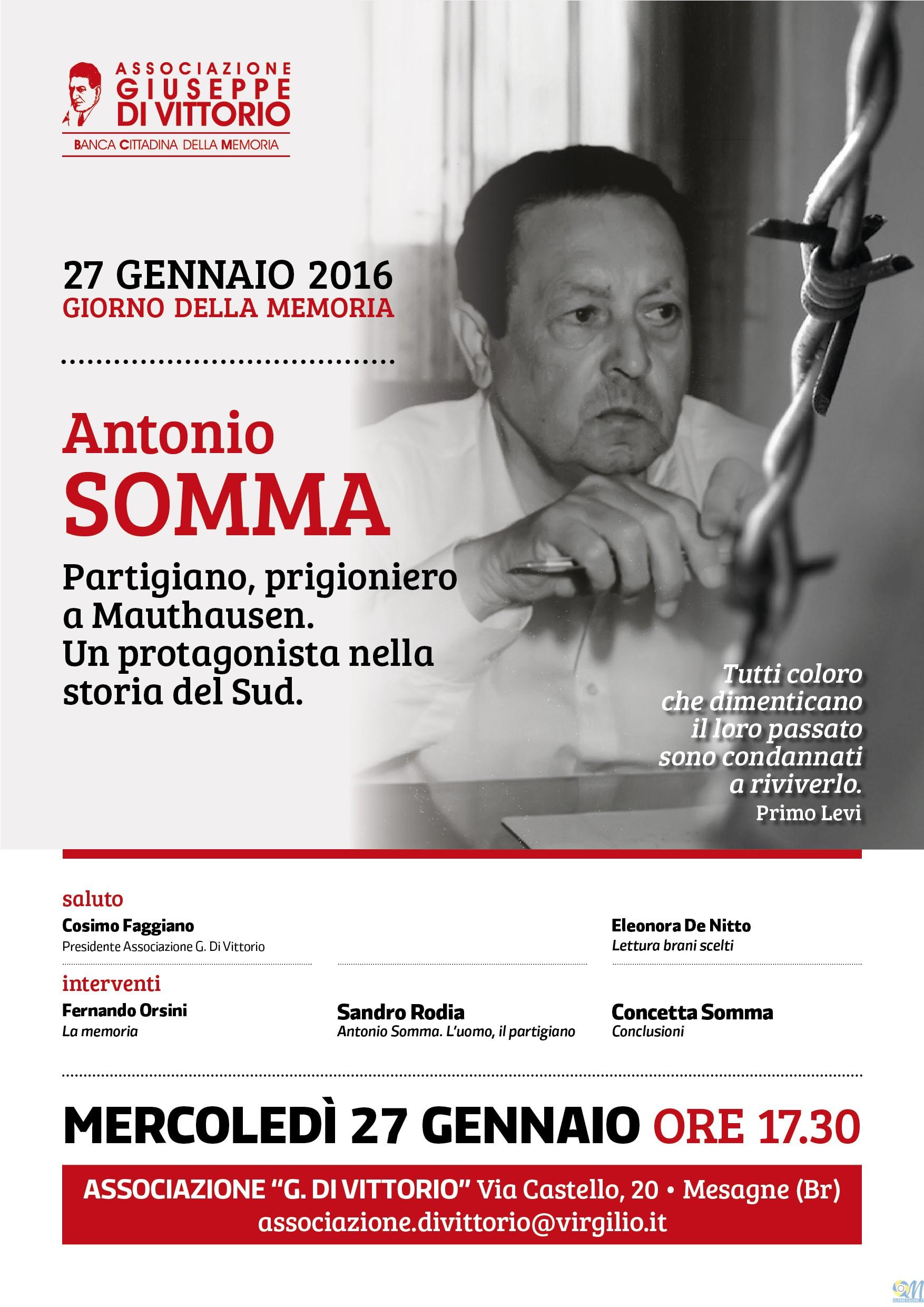 Giornata della Memoria, Mercoledì 27 gennaio alla Di Vittorio ricordando Antonio Somma