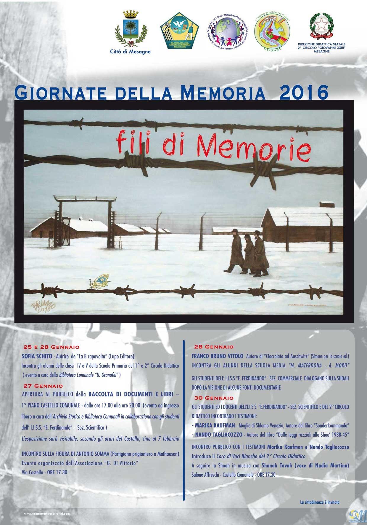 Giornata della Memoria. A Mesagne varie iniziative