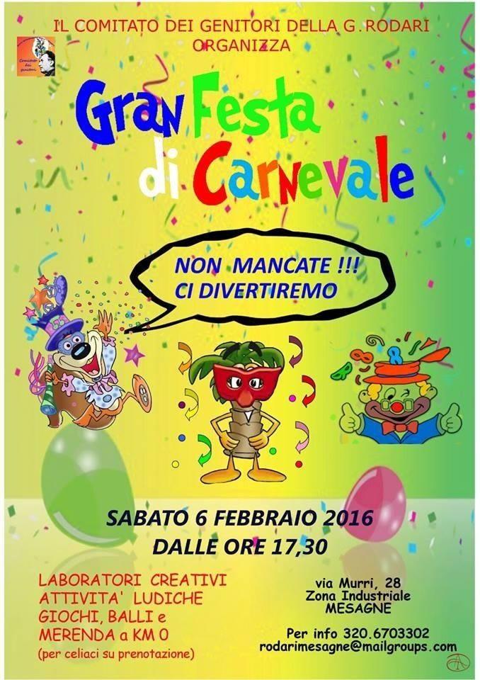 """Sabato festa di Carnevale con le Famiglie della """"Rodari"""""""