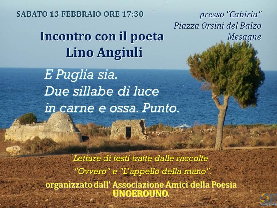 Sabato 13 febbraio incontro con il poeta Lino Angiuli