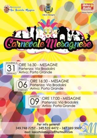 Domani 9 febbraio ultimo appuntamento con il Carnevale mesagnese