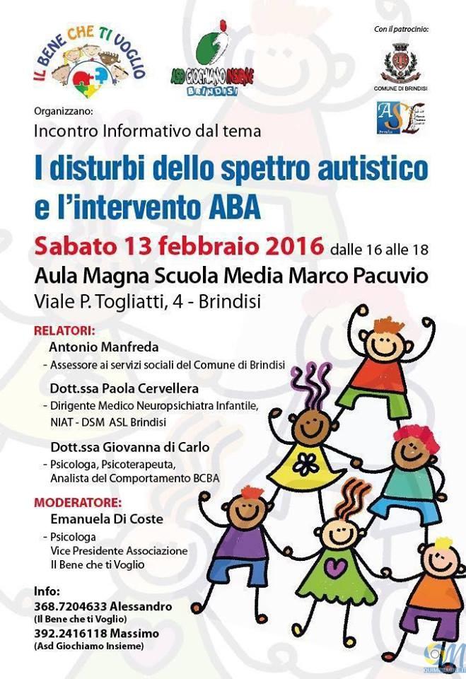 Brindisi, sabato 13 convegno sui disturbi dello spettro autistico