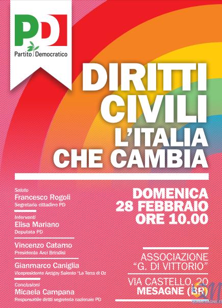 Unioni civili, domenica 28 febbraio incontro con gli onorevoli Mariano e Campana