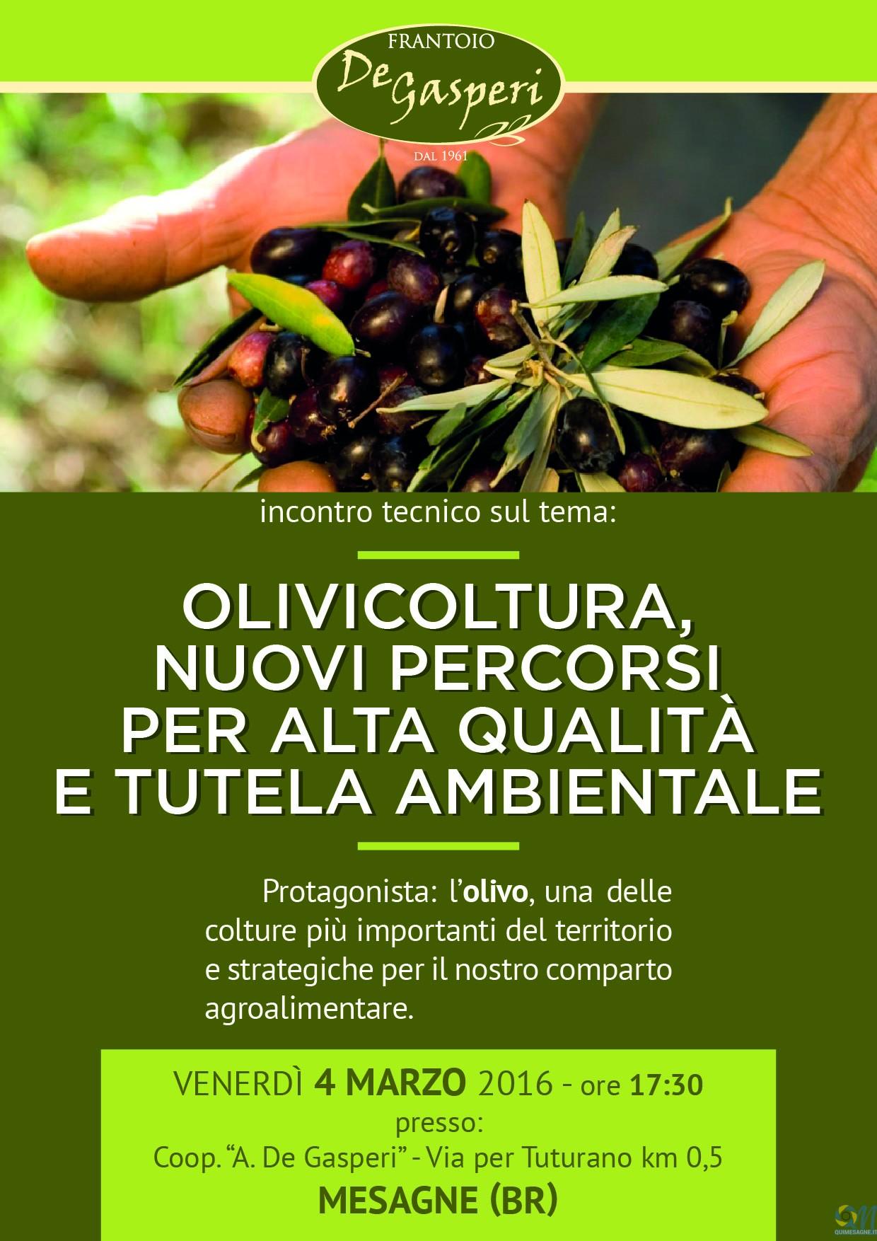 Domani 4 marzo alla De Gasperi incontro su futuro olivicoltura di alta qualità