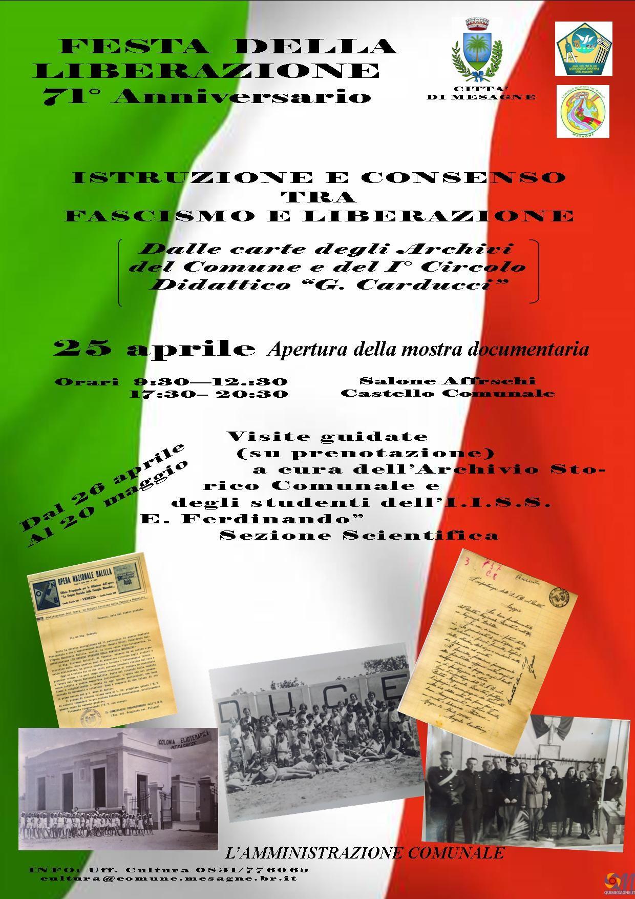 25 Aprile, Mostra storica con il contributo delle scuole mesagnesi
