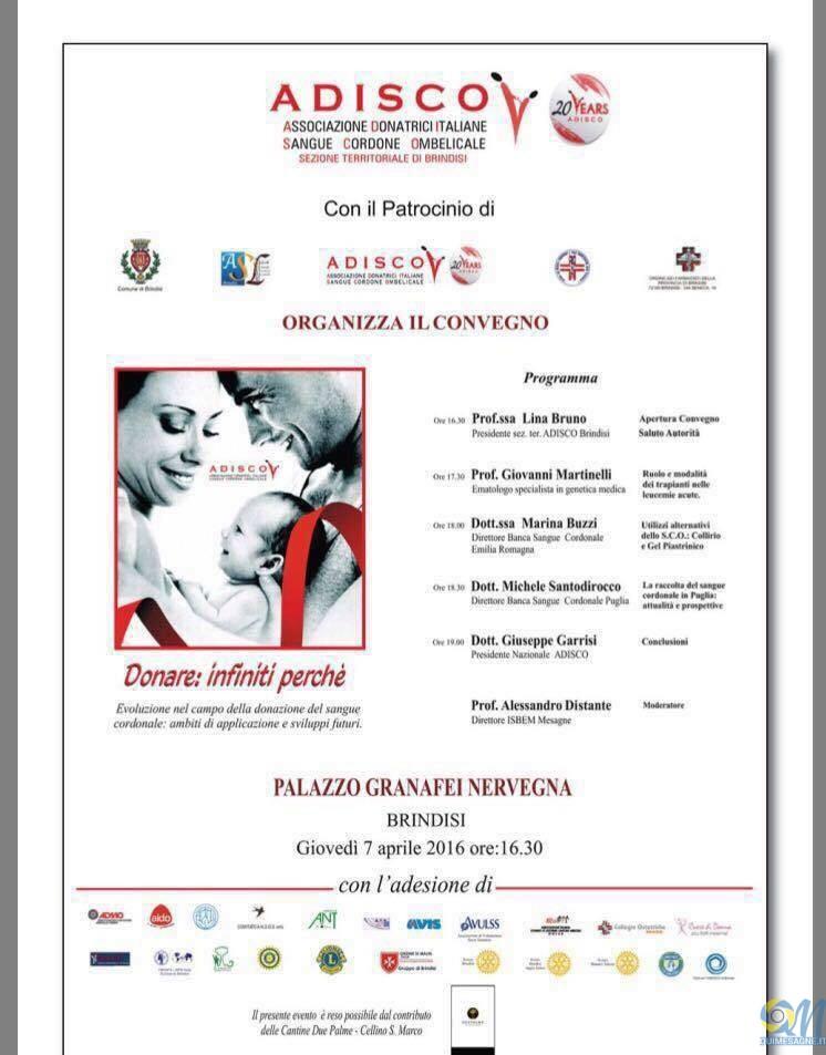 A.D.I.S.C.O., il 7 aprile a Brindisi convegno 'Donare:infiniti perchè'