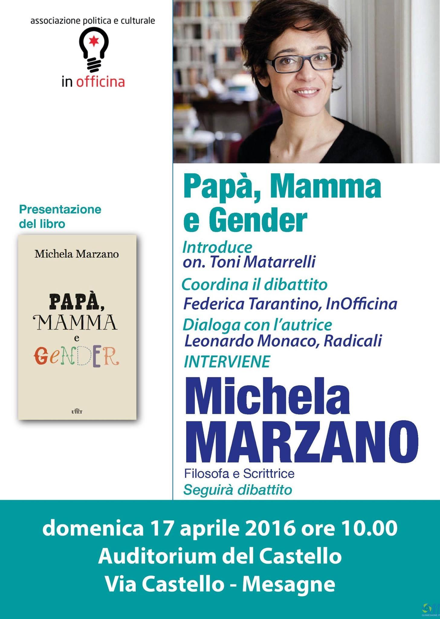 """InOfficina ospita Michela Marzano con il suo libro """"Papà, mamma e gender"""""""