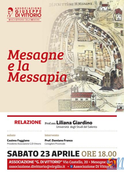 """""""Mesagne e la Messapia"""", Sabato 23 aprile nuovo incontro alla 'Di Vittorio'"""