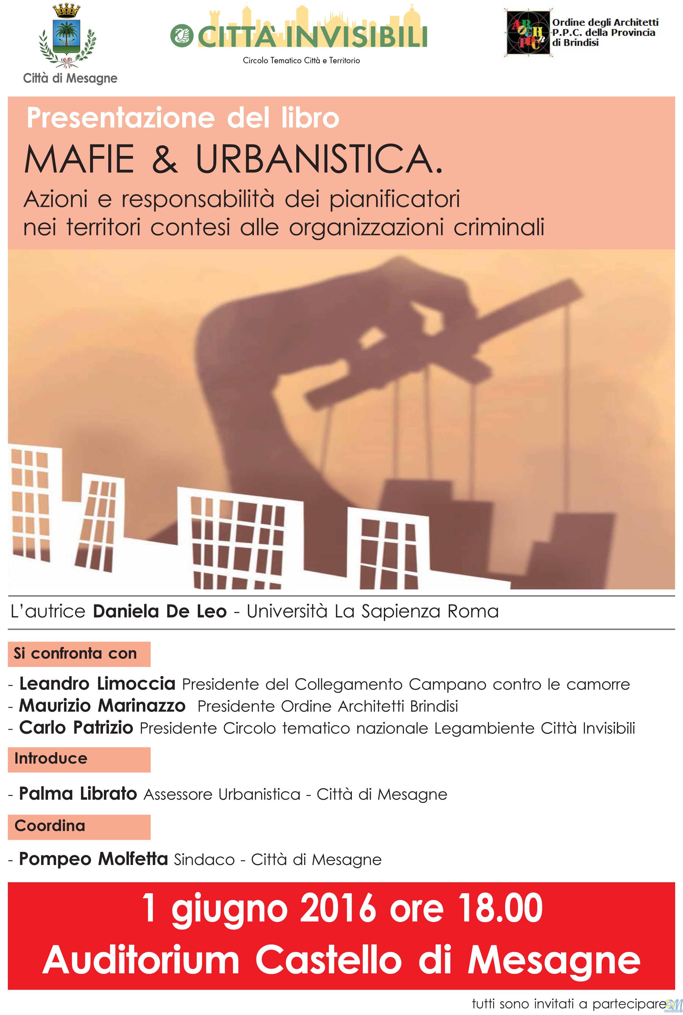 """Il 1 Giugno presentazione del volume """"Mafie&Urbanistica"""""""