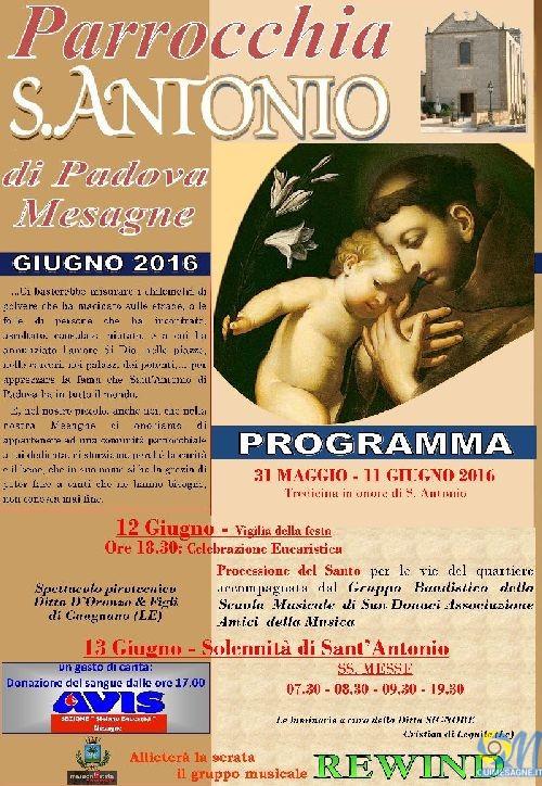 Domenica 12 e lunedì 13 giugno è festa nel quartiere Sant'Antonio. Il programma