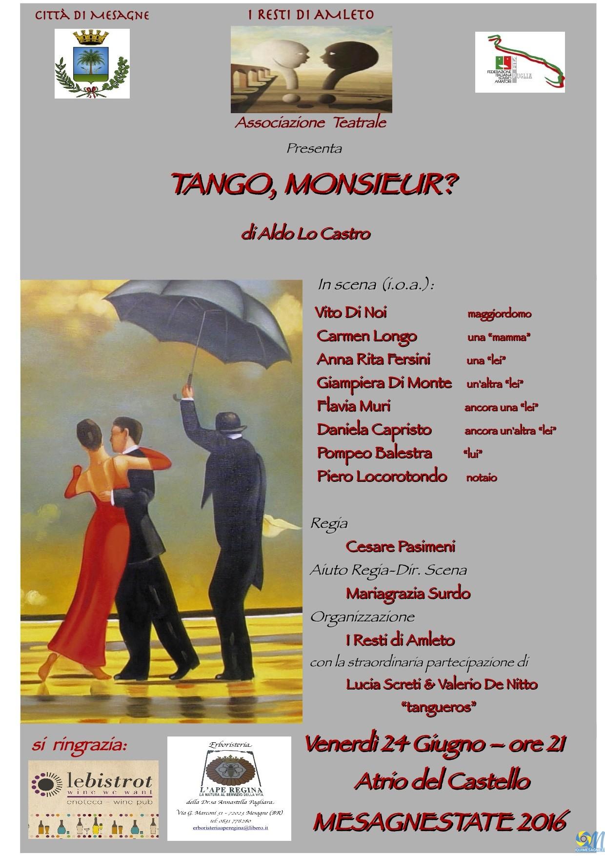 """Domani venerdì 24 giugno """"Tango, Monsieur"""" nell'atrio del Castello"""