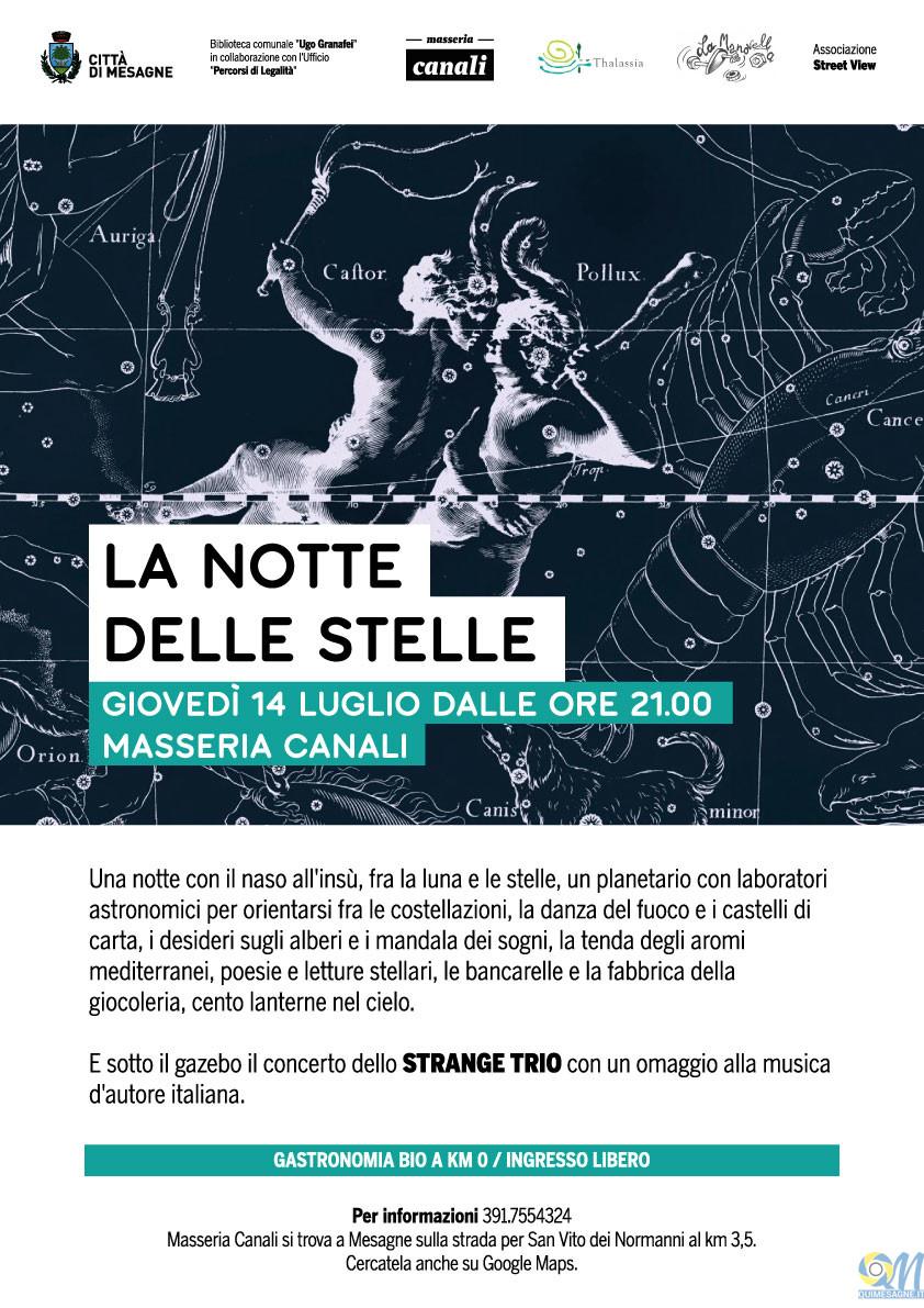 Giovedì 14 luglio torna a Masseria Canali la notte delle stelle