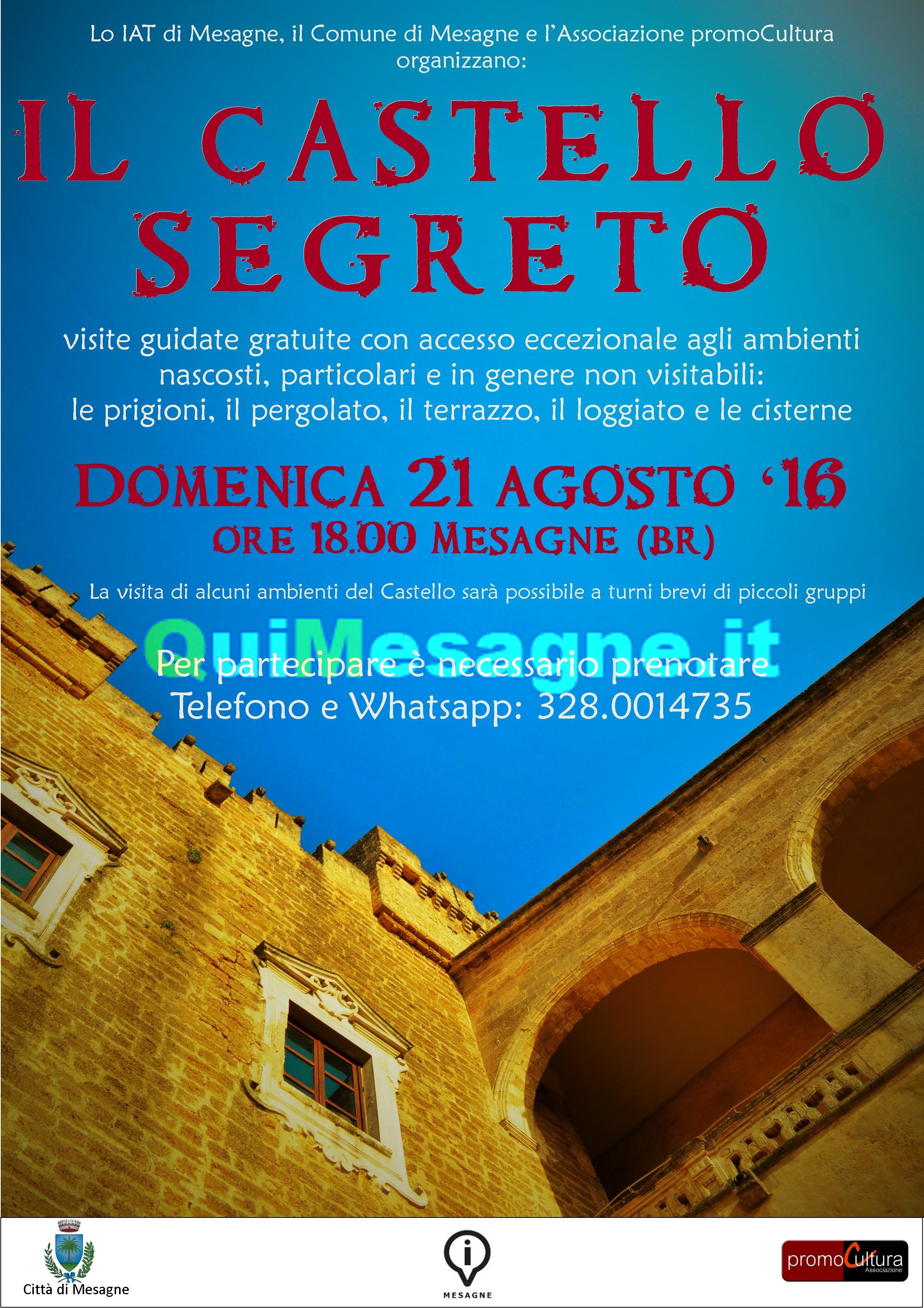 """Domenica 21 Agosto visite guidate gratuite nel """"Castello segreto"""""""