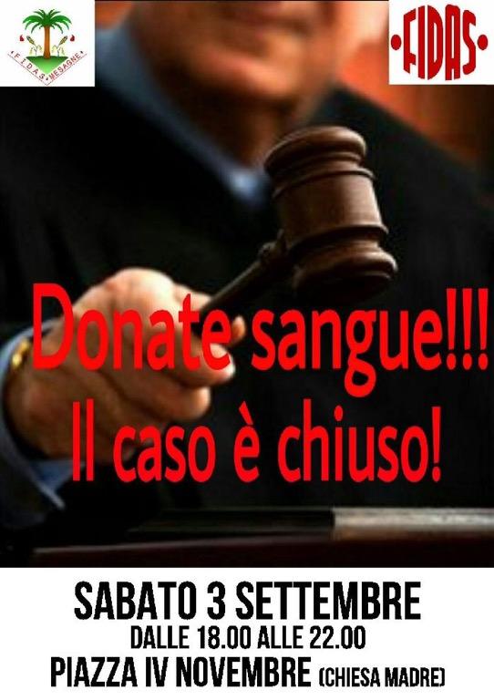 Fidas Mesagne, il 3 settembre dona il sangue in Piazza IV Novembre