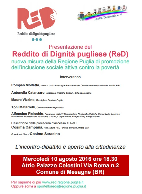 ReD, mercoledì 10 Agosto se ne discute con Vizzino, Matarrelli e Pisicchio