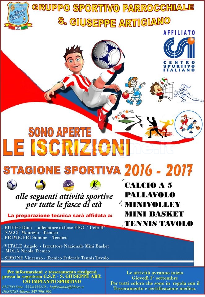 Al via le attività del Gruppo Sportivo San Giuseppe