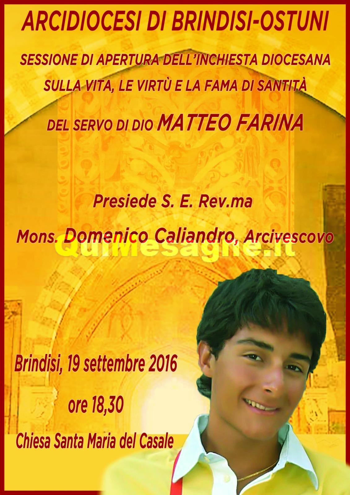 Brindisi, Lunedì 19 settembre si apre processo di Beatificazione per Matteo Farina