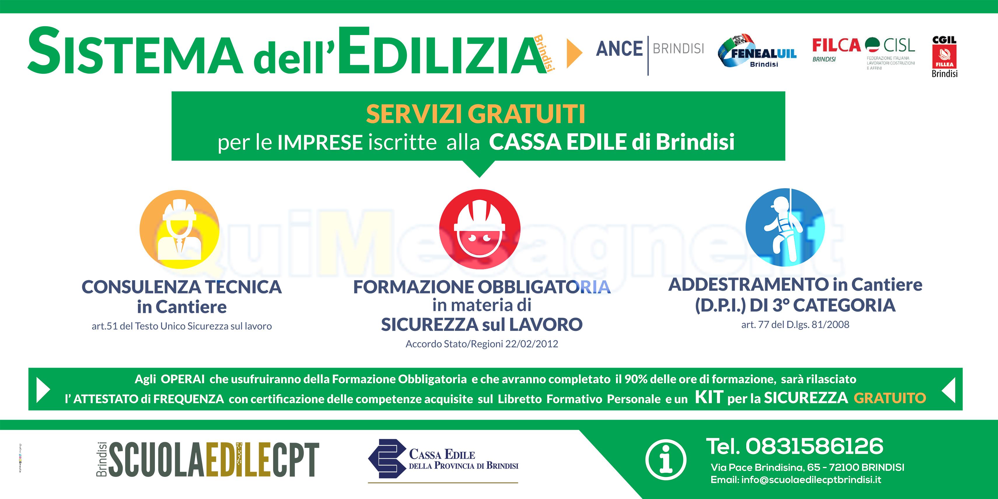 Ecco i servizi della Cassa Edile di Brindisi per le imprese in regola
