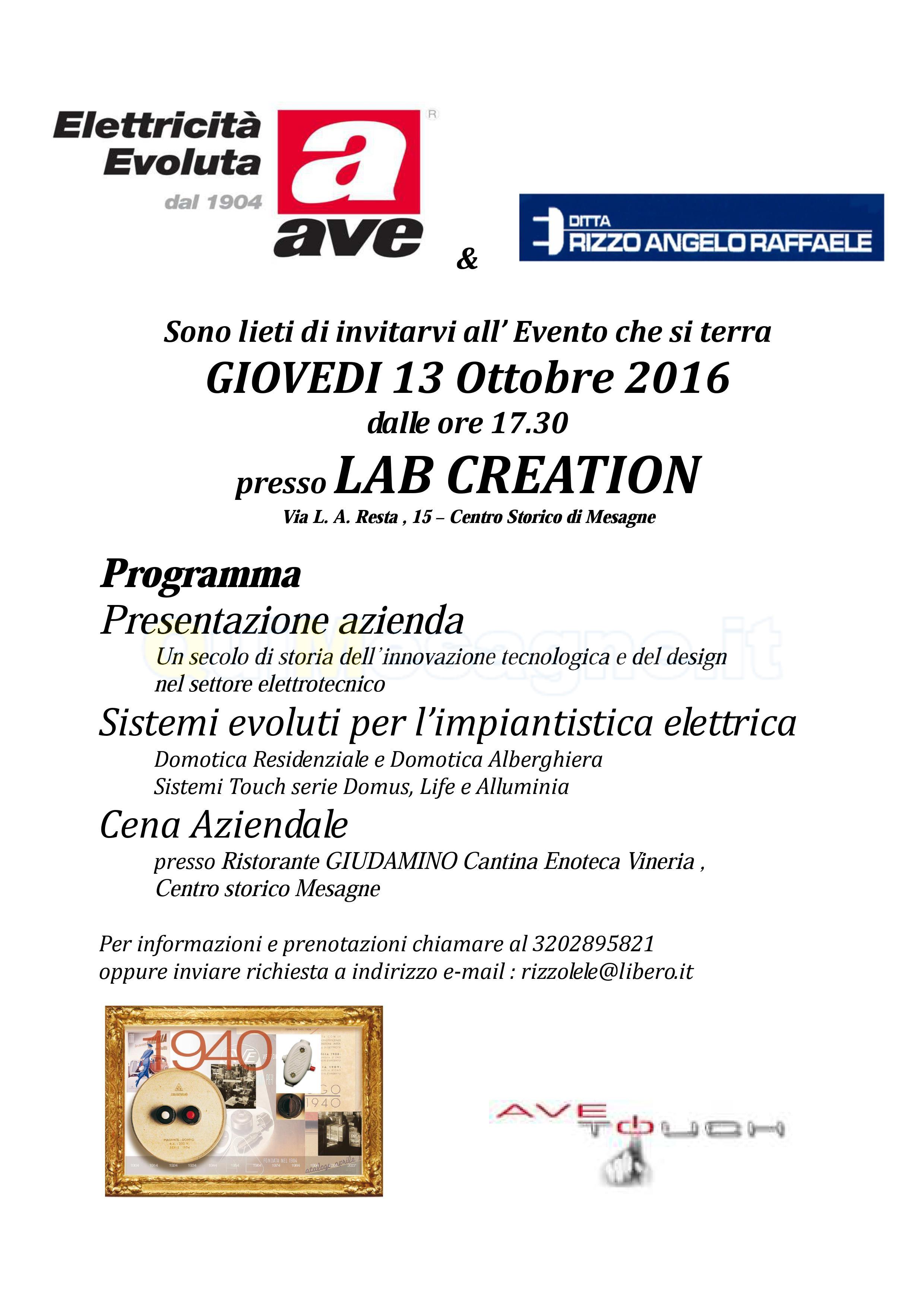 Giovedì 13 ottobre a Lab Creation incontro con l'azienda AVE