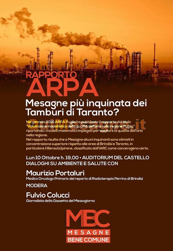 """Questa sera 10 ottobre al Castello: """"Mesagne più inquinata dei Tamburi di Taranto?"""""""