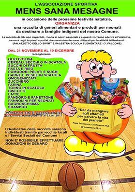 Parte la raccolta per famiglie bisognose, Mens Sana e Olimpia Mesagne i promotori