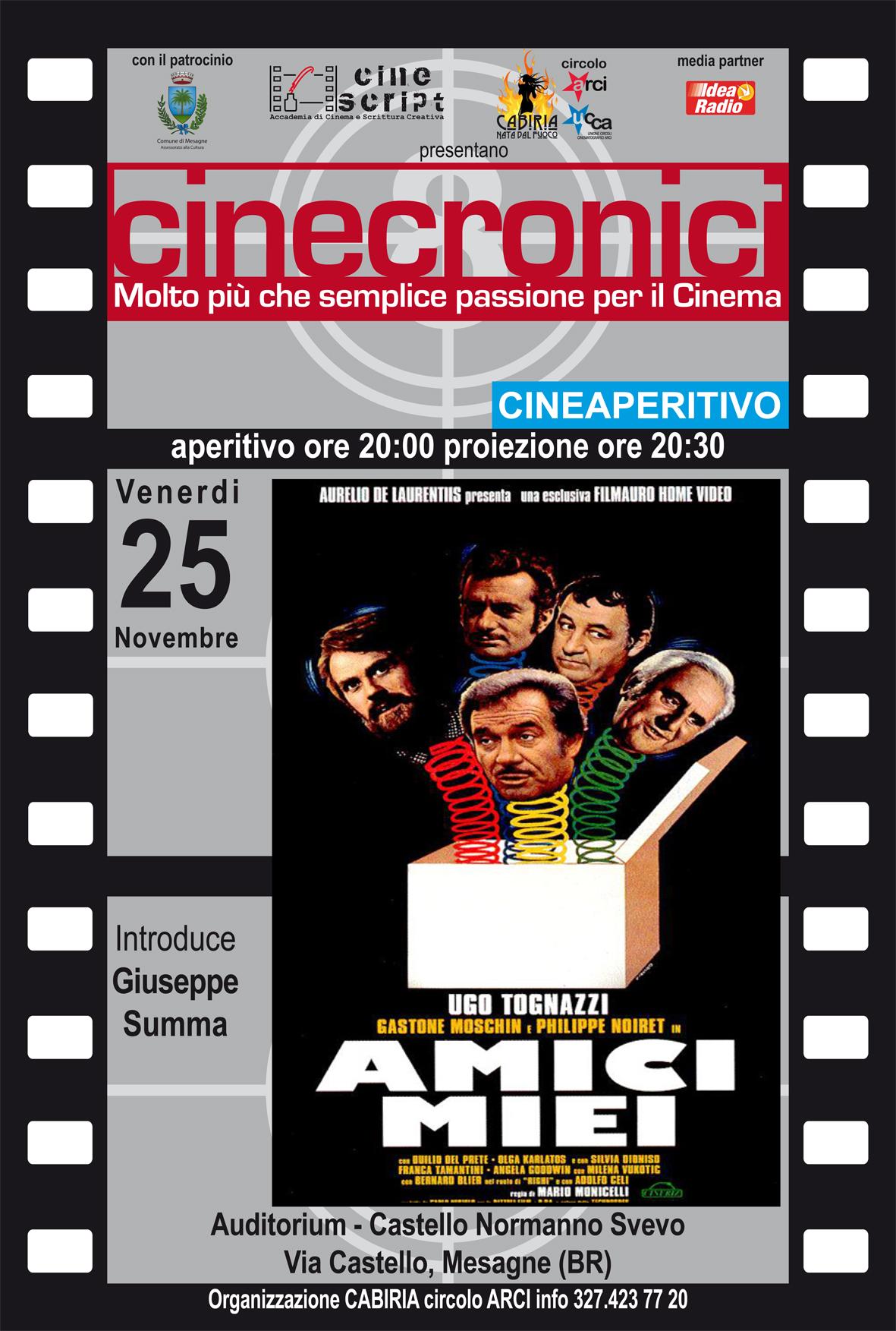 """Venerdì 25, L'intramontabile """"Amici miei"""" nel CineAperitivo al castello di Mesagne"""