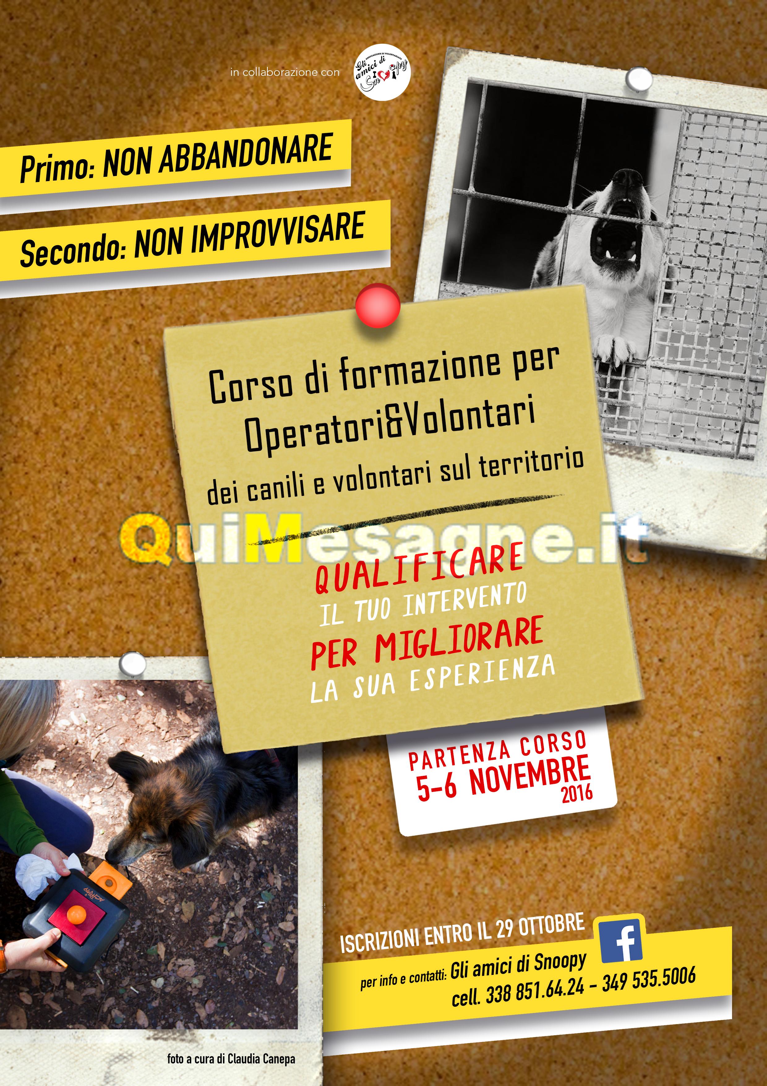 """Vuoi diventare Volontario del Canile? Domani (12/11) parte corso con """"Gli Amici di Snoopy"""""""