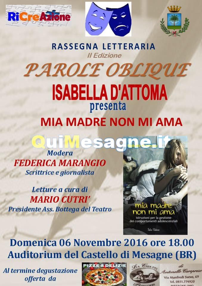 Domani 6 Novembre: RiCreAzione e La Bottega del Teatro ospitano Isabella D'Attoma