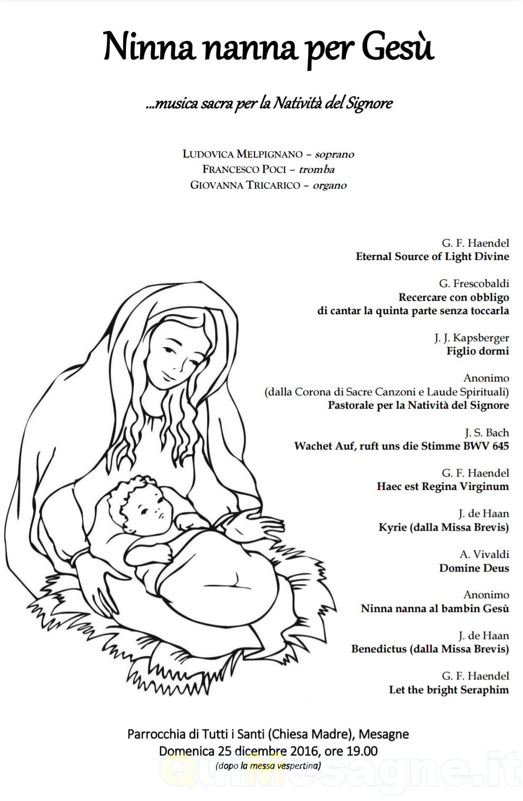 """A Natale ore 19.00 nella Chiesa Madre Mesagne c'è """"Ninna nanna per Gesù"""""""