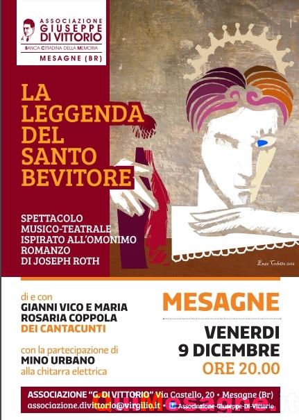 """Venerdì 9 Dicembre alla """"Di Vittorio"""" c'è """"La Leggenda del Santo Bevitore"""""""
