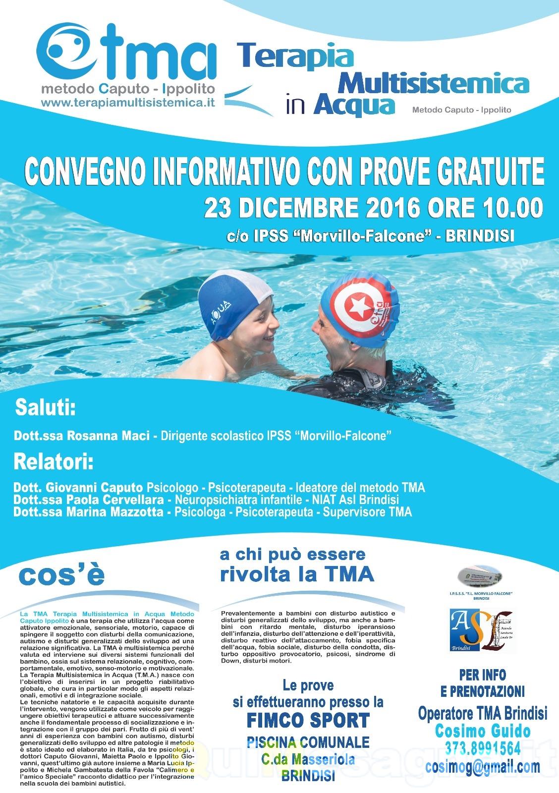 Convegno sulla Terapia Multisistemica in Acqua, Cosimo Guido operatore in Provincia