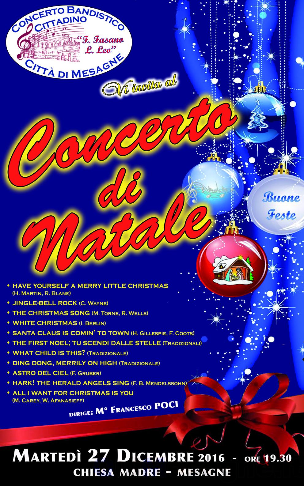 """Stasera 27 Dicembre in Chiesa Madre """"Concerto di Natale"""" della Banda"""