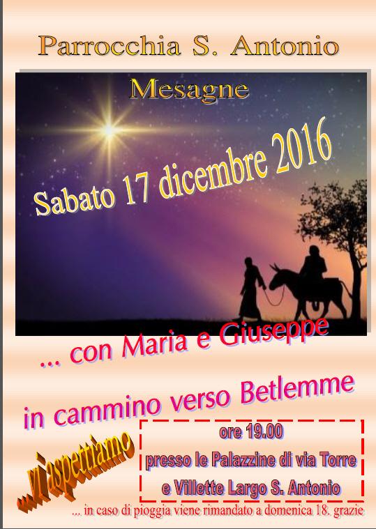 """""""Con Maria e Giuseppe in cammino verso Betlemme"""". Domani 17 nella Parrocchia di Sant'Antonio"""