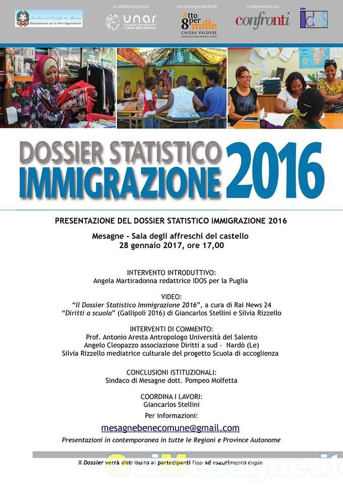 """Sabato 28 gennaio si presenta il """"Dossier Statistico Immigrazione 2016"""""""