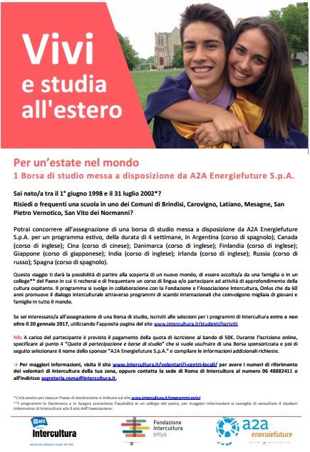 Un'estate nel mondo, borsa di studio della A2A Energiefuture per gli studenti di Mesagne