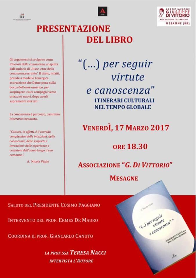 """Venerdì 17 Marzo alla Di Vittorio presentazione libro """"(…..) per seguir virtute e canoscenza"""""""