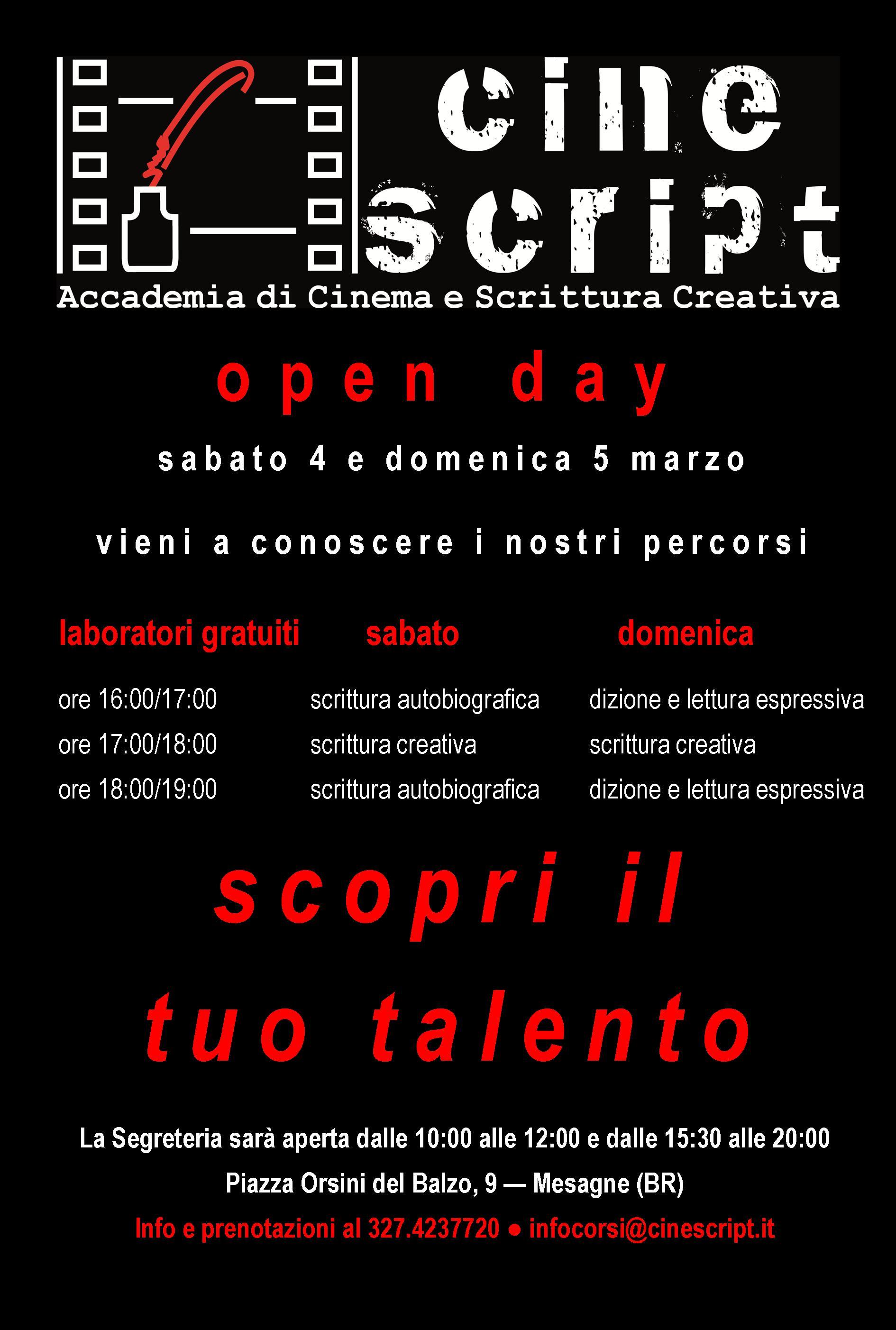CineScript, fucina creativa della Puglia. Open day sabato 4 e domenica 5 marzo