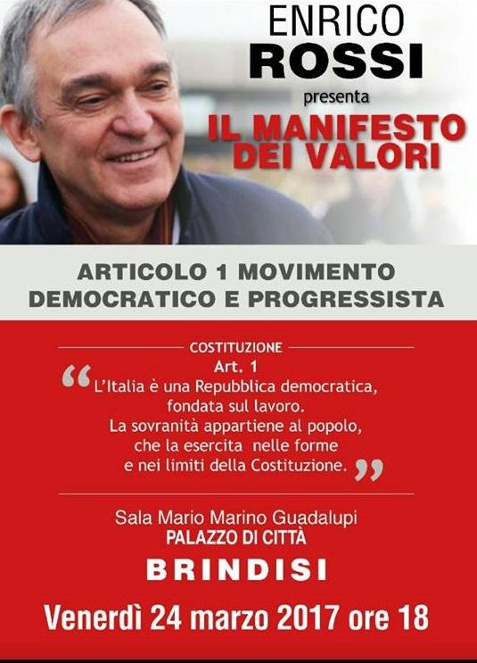 Enrico Rossi a Brindisi per presentare Art 1 Movimento Democratico e Progressista (MPD)