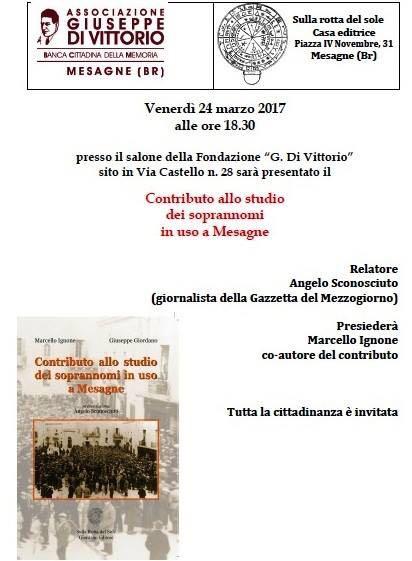 Venerdì 24 marzo alla Di Vittorio presentazione libro sui Soprannomi di Mesagne