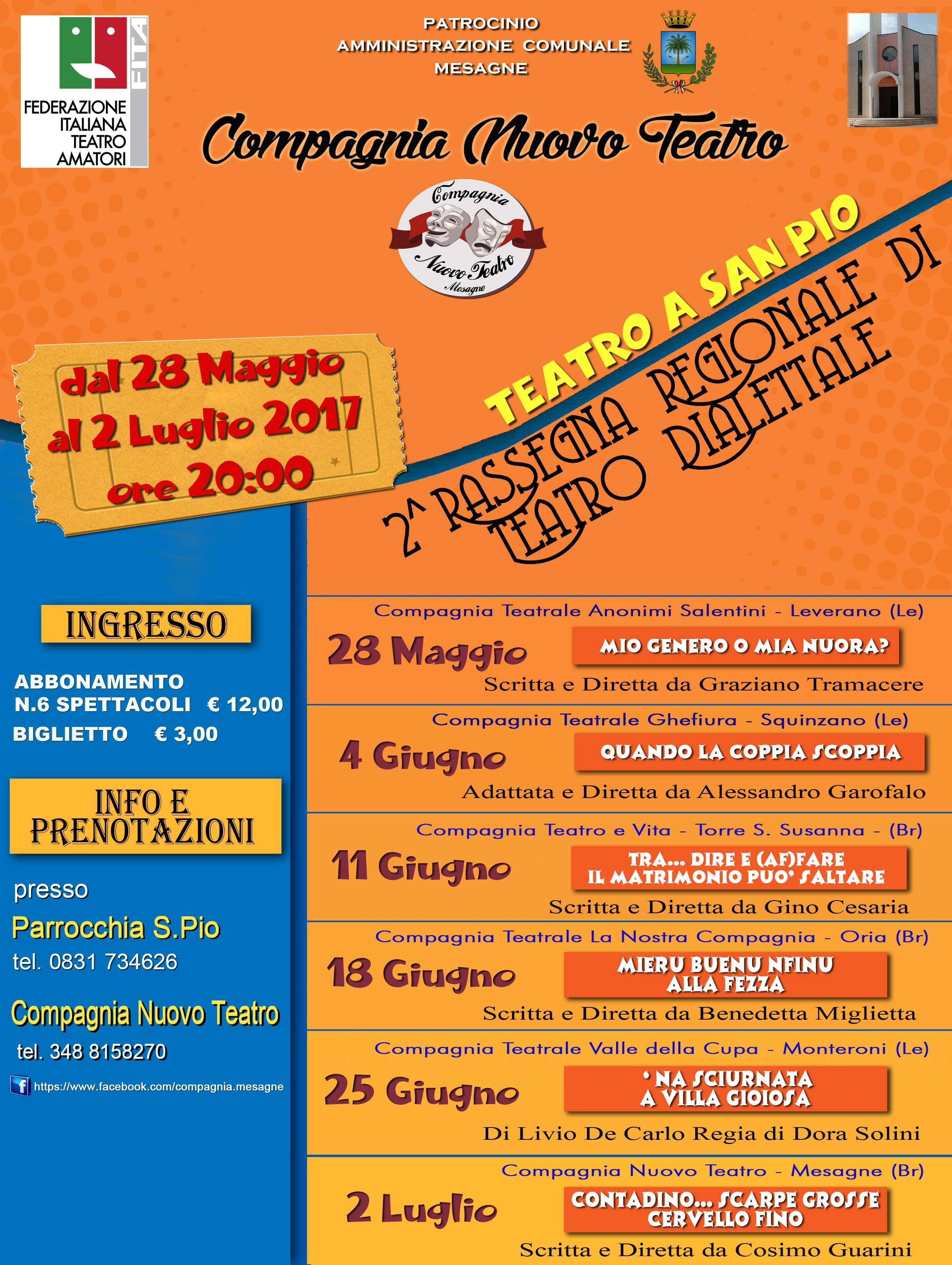 """Partita la campagna abbonamenti per la Rassegna """"Teatro a San Pio"""""""