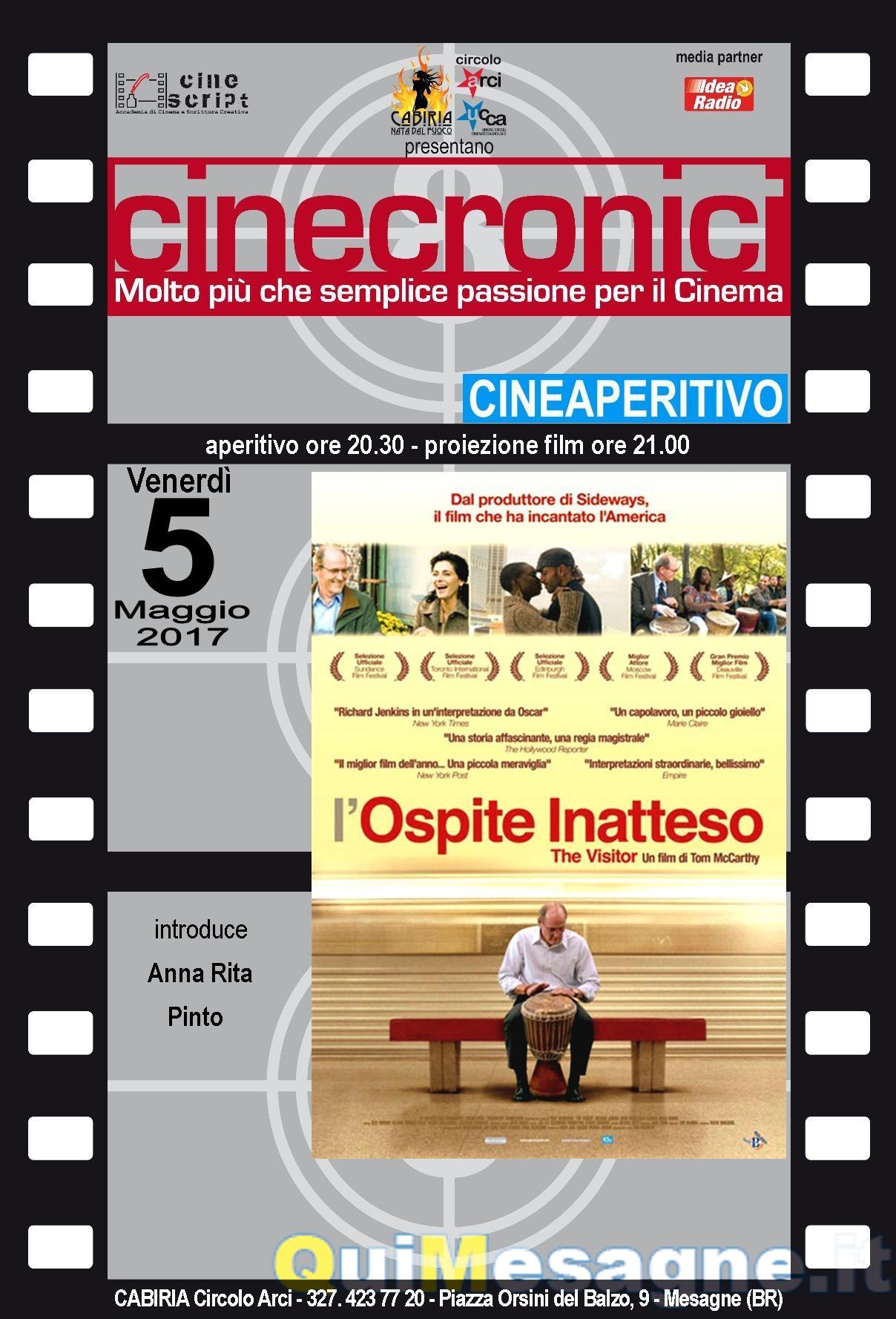 """""""L'ospite inatteso"""" nella rassegna Cinecronici di Cabiria Circolo Arci"""