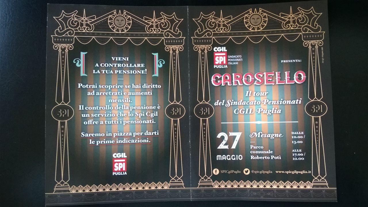 Anziani e famiglie: oggi fa tappa a Mesagne il Carosello dello SPI CGIL Puglia