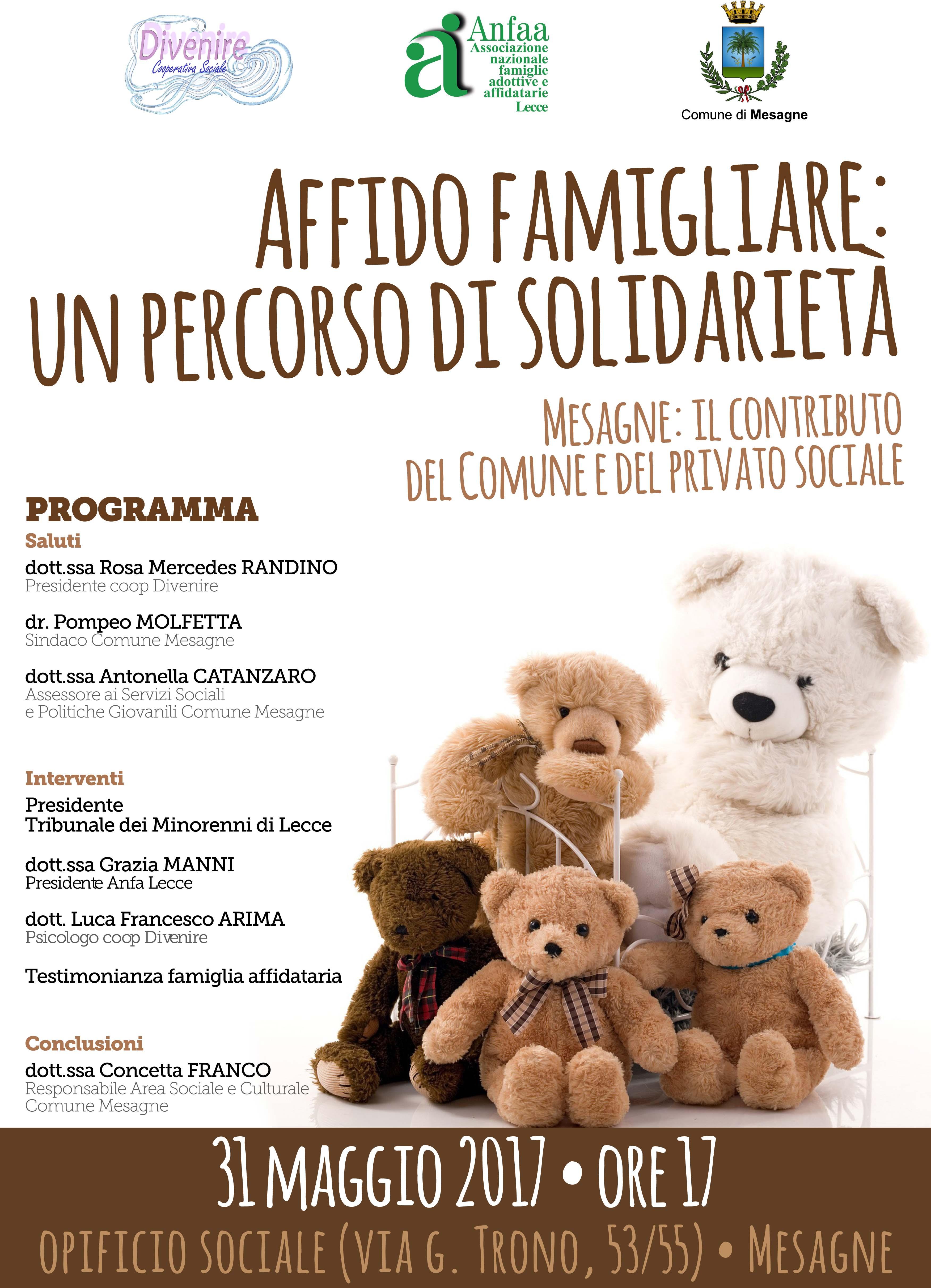 Affido Famigliare, un percorso di solidarietà. Mesagne, il contributo del Comune e del Privato sociale