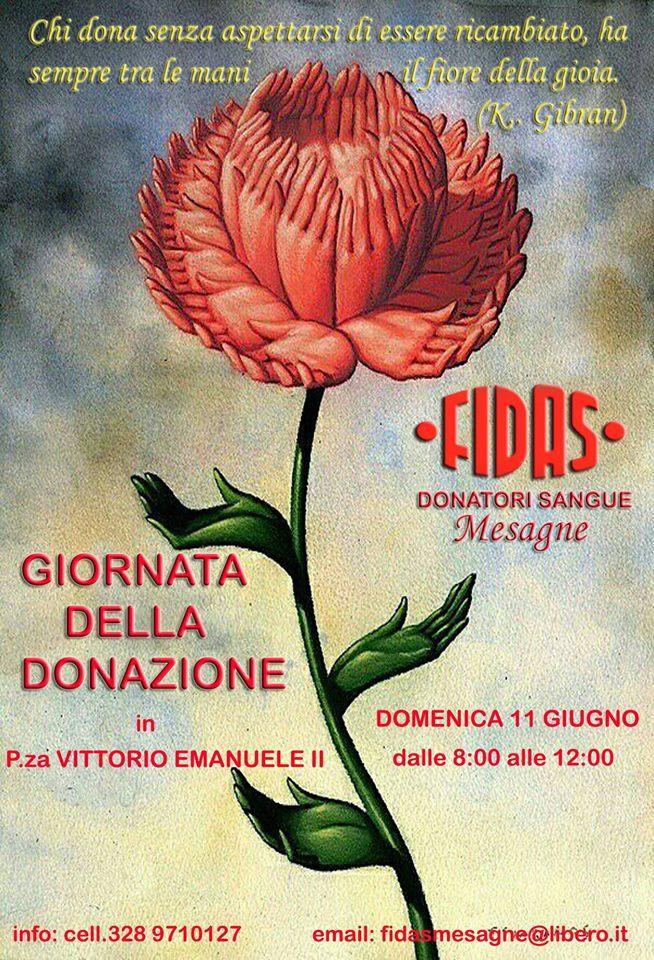 """Fidas, Domenica 11 giugno """"Giornata della Donazione"""""""