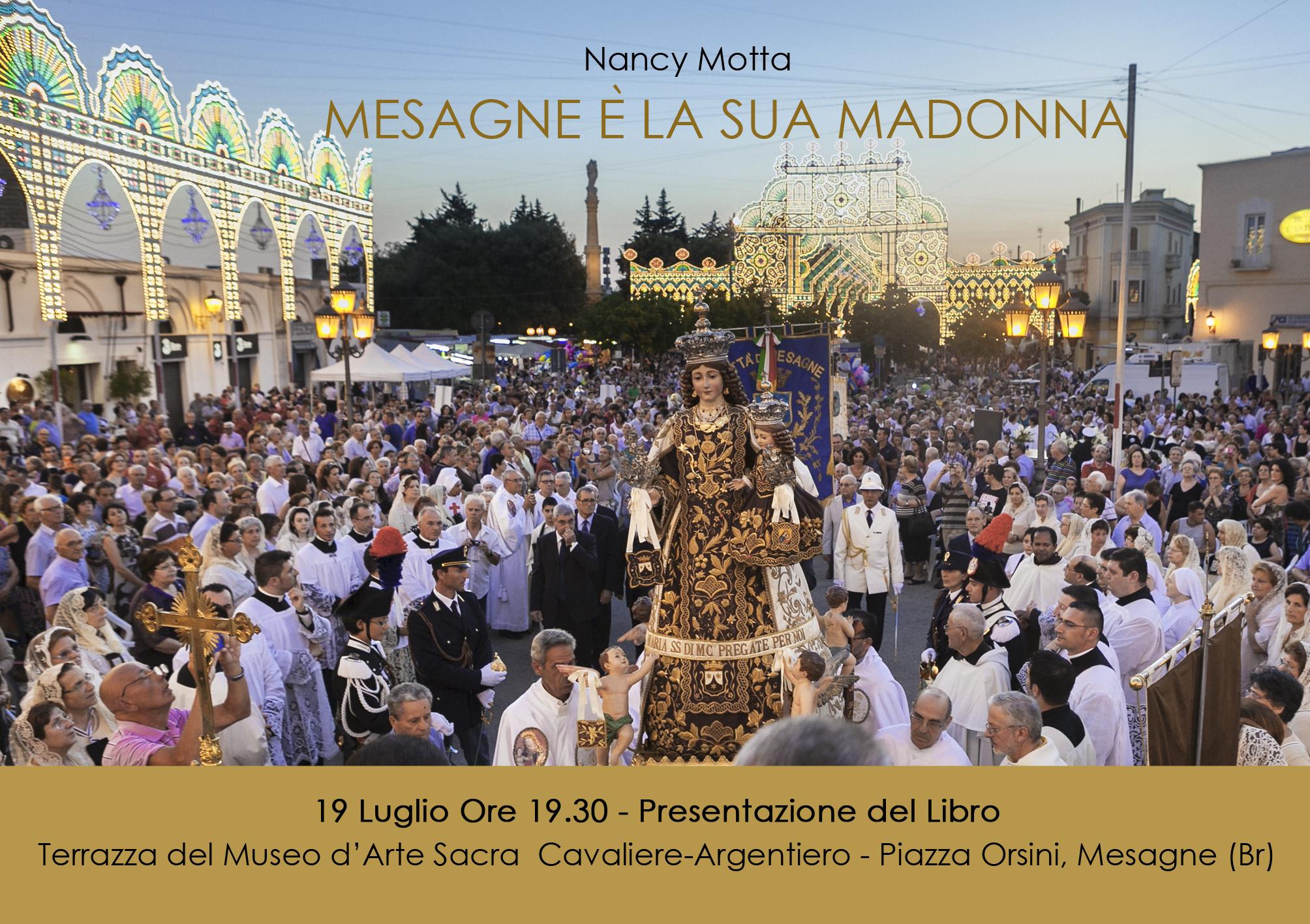 """SUM, Domani 19 luglio presentazione volume """"Mesagne è la sua Madonna"""" di Nancy Motta"""