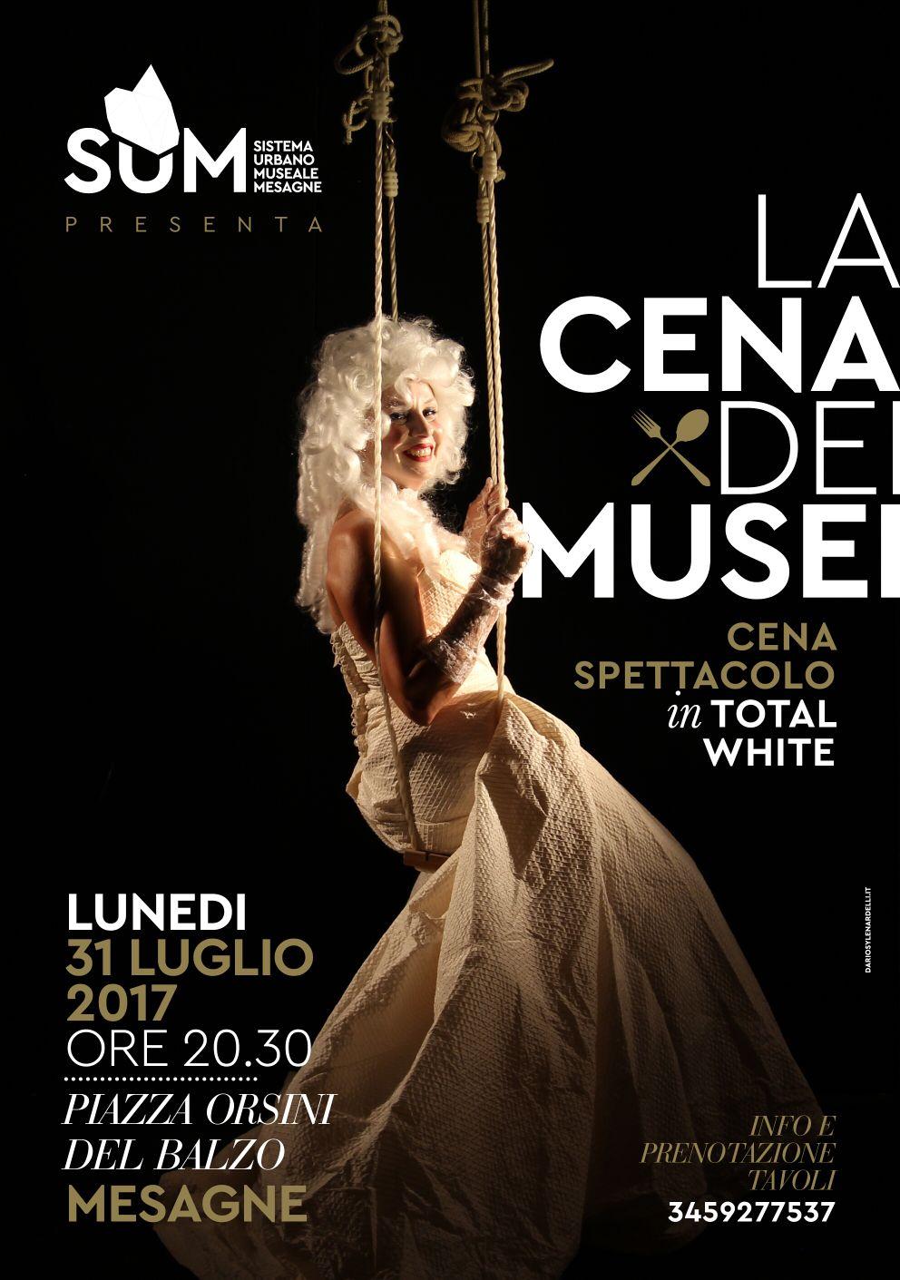 """Questa sera 31 luglio c'è la """"Cena dei Musei"""", uno spettacolo in total white. Ecco il menù"""