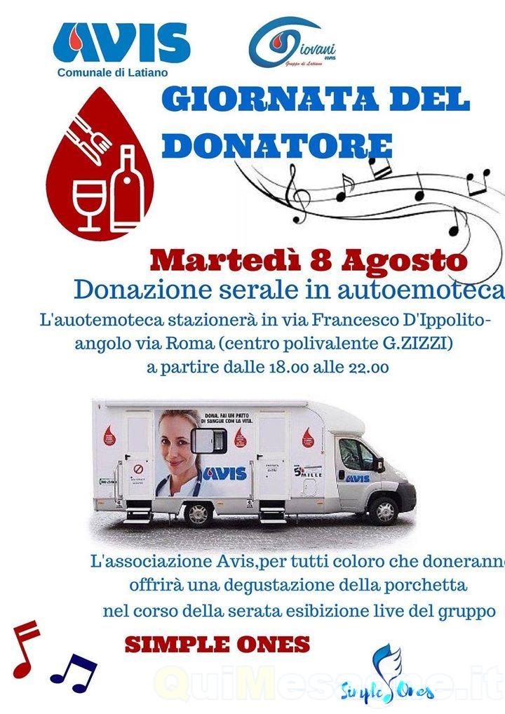 LATIANO – L'Avis e il Gruppo Giovani organizzano per martedì 8 agosto la donazione