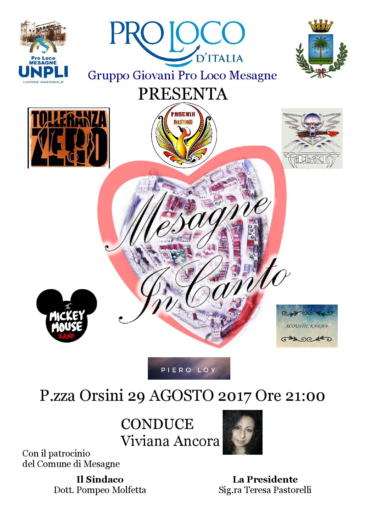"""Pro Loco, il 29 agosto serata di musica ed intrattenimento """"Mesagne InCanto"""""""